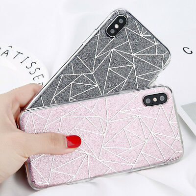 For iPhone X SE 5s 6s 7 8 Plus Case Glitter Shockproof Hybrid Hard Rubber Cover