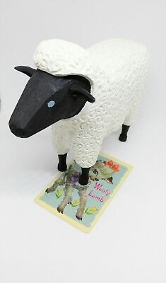 WOODEN SIGNED WK Sheep/Lamb-Decoration-Statue-Goat-Carved-Painted-Farm Animal