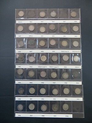 Set of 39 Coins Canadian Silver 5 cent Canada  1883-1920