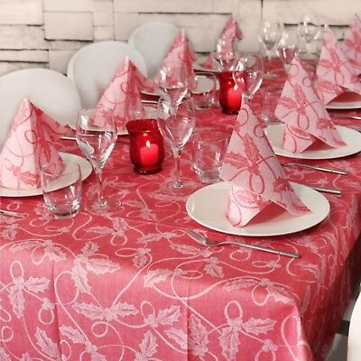 TABLE SET NATALIZIO MONOUSO HOLLY ROSSO AIRLAID CM 140x240 + (10x) 40x40 10PZ