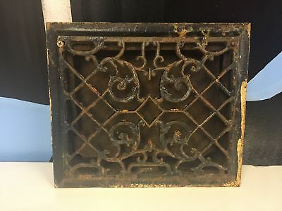 "Reclaimed Ornate Victorian Heat Vent Vintage Cast Iron Register 11"" X 10"""
