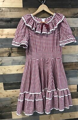 Vintage SQUARE DANCE DRESS Red Gingham Partners Please 360 Swing Fit Flare Sz6