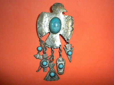 Fine Silver Native American Thunderbird Symbols Pin or Necklace very old rare.