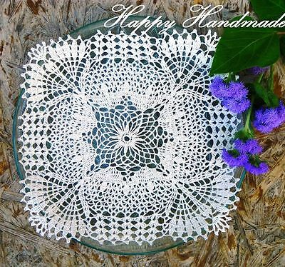 HaHa Off-White Linen Crochet 26x26cm (10 inch) Square Doily/made-to-order
