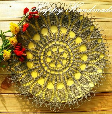 HaHa Large Grey Linen Crochet 32cm (12.5 inch) Round Doily made-to-order