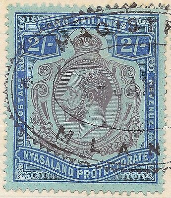 Nyasaland KGV 2sh NICK IN TOP RIGHT SCROLL - UNRECORDED ON THE 2sh