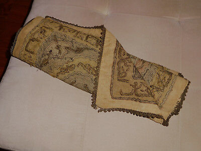 Antique Turkish / Middle Eastern Textile cotton and metal 18''x70'' Tapestry