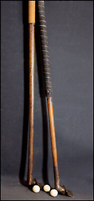 Rare Antique Pair Of 19Th.c Golf Club / Stick With 3  Leather  Golf Balls