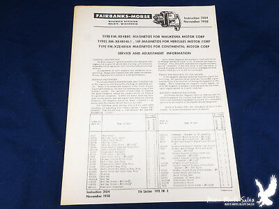 November 1958 Fairbanks-Morse Magneto Service & Adjustment Info Instruction 3104
