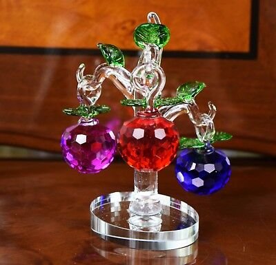 Crystal Cut Cherry Tree  Grapes Home Decor Wedding Birthday Gift & Gift Box