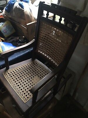 Antique Kids' Walnut Rocker Rocking Chair Caned Back & Seat over 100 years old