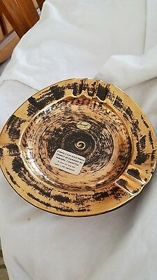 Stangl Black Gold Ashtray Vintage New Old Stock # 5058 Hand Painted New with Tag