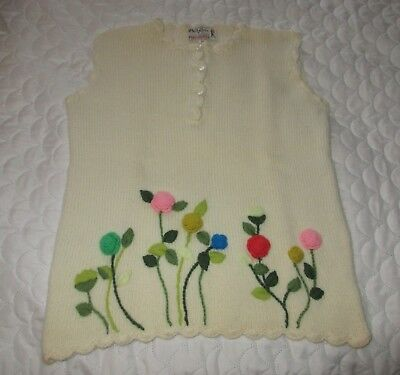 Vintage Phil Rose of California Embroidered Knit Sleeveless Wool Sweater - M