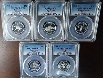 5 coin Silver state Quarter set 25C 1999 S PCGS PR69DCAM five Silver proof coins