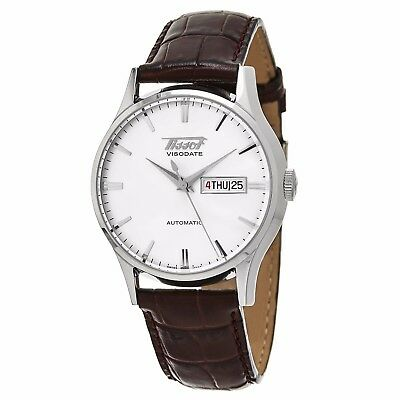 Tissot Men's VisoDate Silver Dial Leather Strap Automatic Watch T0194301603101
