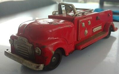 Vintage Japan Tin Toy S.s.s.f.d Fire Departement Usa Truck Red Antique Old Rare