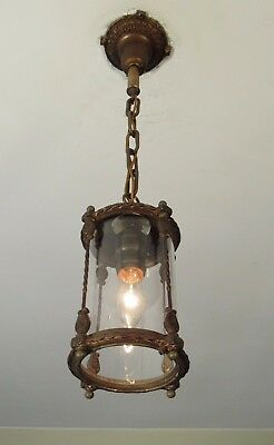 ELEGANT! Antique Clear Glass Entry or Foyer Light Fixture - Restored!