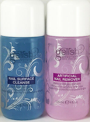 Authentic Gelish Soak Off Nail Gel Polish Remover 4 oz +Surface Cleanser 4 oz