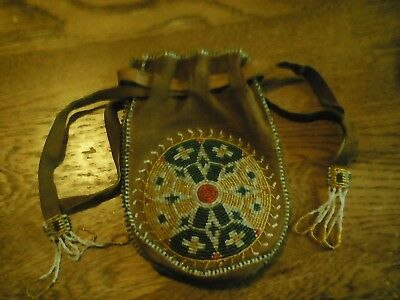 Vintage Native American Indian Beaded Leather Tobacco Pouch Medicine Bag
