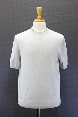 NWT $575 Brunello Cucinelli Soft Cotton Knit Ribbed Crewneck Tee Sz 50/40US A176