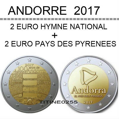 Andorre 2017 * 2 Coincard Bu * Le Pays Des Pyrenees + 100 Ans Hymne National