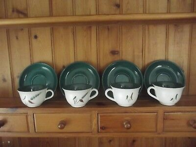 Denby Greenwheat Cups And Saucers X 4 Good Condition