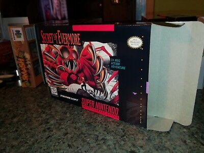 Secret of Evermore Box Only, SNES Nintendo Replacement Box/Art Case!!