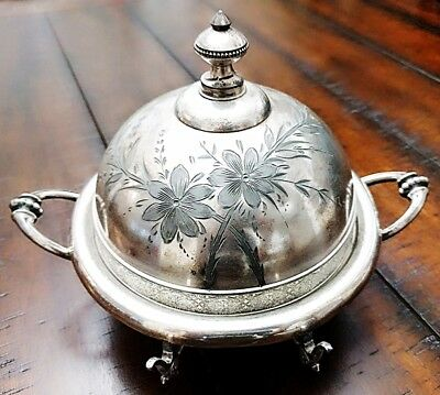 Antique Wilcox SilverPlate Co. #53 Monogram Domed Butter Dish