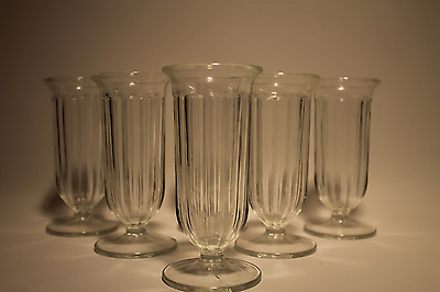 Vintage 6 Soda Fountain Icecream Cone Holder Glasses. Footed, Ribbed, & Flutted