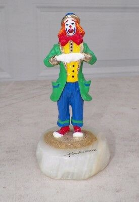 "Vintage 2002 Ron Lee Clown Red Blue Green Yellow 5 3/4"" Tall"