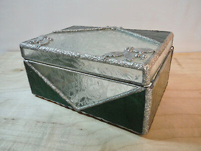 Gorgeous Hinged Green Silver Clear Ice Leaded Stained Glass Trinket Box Holly