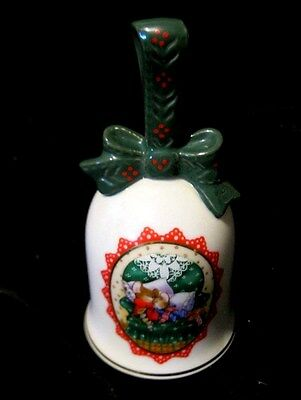 "Holiday Bell - Avon "" Christmas 1990""  - Cameo Design Of Mice Sleeping On Chair"