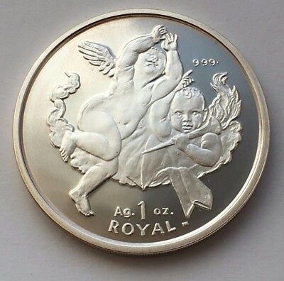 2001 Gibraltar 1 Royal Two Cherubs Proof Silver Coin