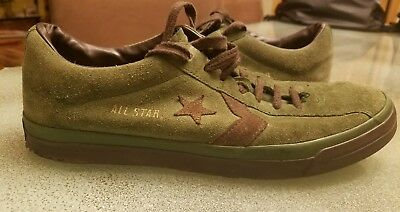 04140a48440c9a VINTAGE CONVERSE ALL Star Mens 9 Suede Low Green Brown Shoes ...
