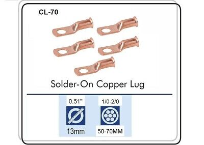 CABLE LUGS T-120 CRIMP / SOLDER TYPE CABLE SIZE 1 THRU 2/0,Pack of 5 CL-70