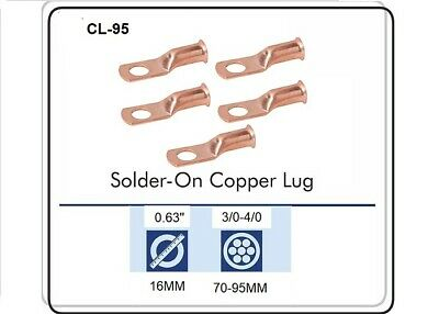 CABLE LUGS T-3040 CRIMP / SOLDER TYPE CABLE SIZE 3/0 & 4/0, Pack of 5 CL-95