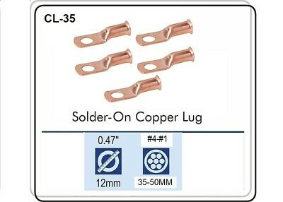 CABLE LUGS T-62 CRIMP / SOLDER TYPE CABLE SIZE 6 THRU 2, Pack of 5 CL-35