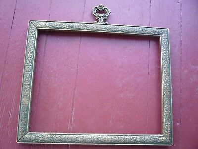 Antique ORNATE GOLD GILDED picture frame ornate art nouveau cast iron handle