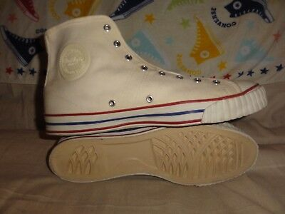 VINTAGE CONVERSE LUCKY BOY WHITE HIGH TOPS MADE IN USA SIZE 11.5 MENS 1970s BOX