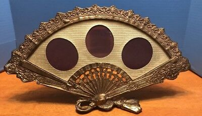 Vtg Ornate Victorian Heavy Brass Fan Shaped Picture Frame 3 Photo 17""