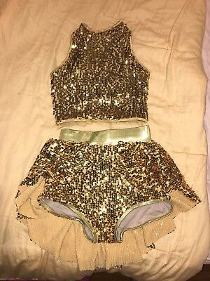 Gold Sequin 2 Piece Dance Costume Small Adult