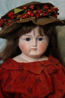 Antique 27 Inch Turned Head German Bisque Mystery Doll Closed Mouth Gorgeous!