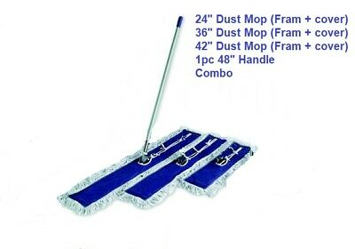 Dust Mop Kit combo 42, 36, 24 inch White  Dust Mop, Wire Frame & Handle