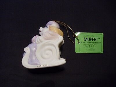 Vintage 1980 Muppets Miss Piggy on Sleigh with Box & Tag by Sigma, NICE!