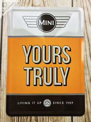 MINI Yours Truly Vintage Ad Metal Postcard mini tin sign card cooper car BMW