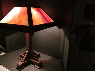 Old Vintage Mission Arts & Crafts Slag Glass Oak Table Lamp Light