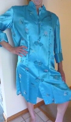 L Peony of Shanghai Brocade Kimono Robe Dressing Gown Satin Quilted  STUNNING