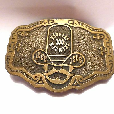 Vintage Cowboy Douglas Wyoming Belt Buckle Solid Brass/Bronze Made in USA 80's