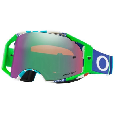 NEW OAKLEY AIRBRAKE PINNED RACE BLUE GREEN with PRIZM JADE LENS MX Goggles