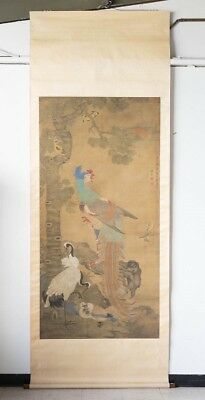 Antique 18th Century Traditional Chinese Silk Scroll Painting Fenghuang & Tree